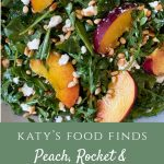 Close up of Peaches with feta, pinenuts and rocket.