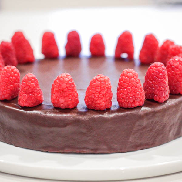 Chocolate Torta on a white plate.