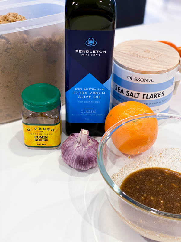 All the ingredients on the bench ready to make the marinade/glaze for the Butterflied Quail with Orange, Cumin and Brown Sugar Glaze.