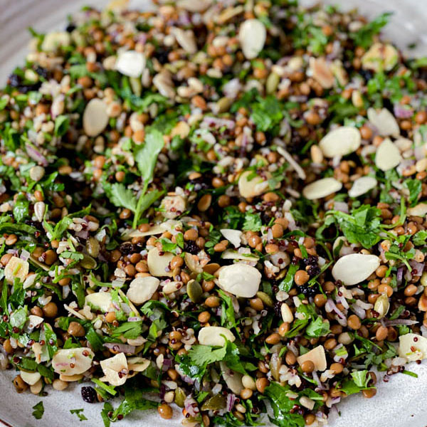 Close up of the Cypriot Grain Salad on a platter.