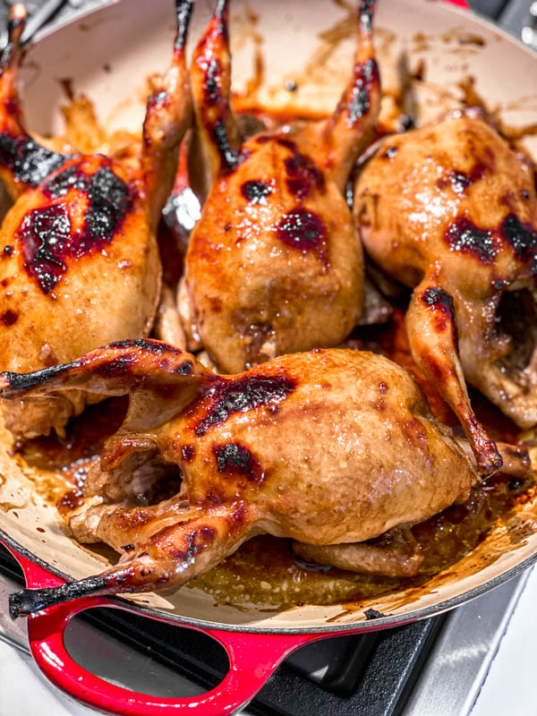 The Roasted Pomegranate Quail after 20 minutes in the oven is now browning well.