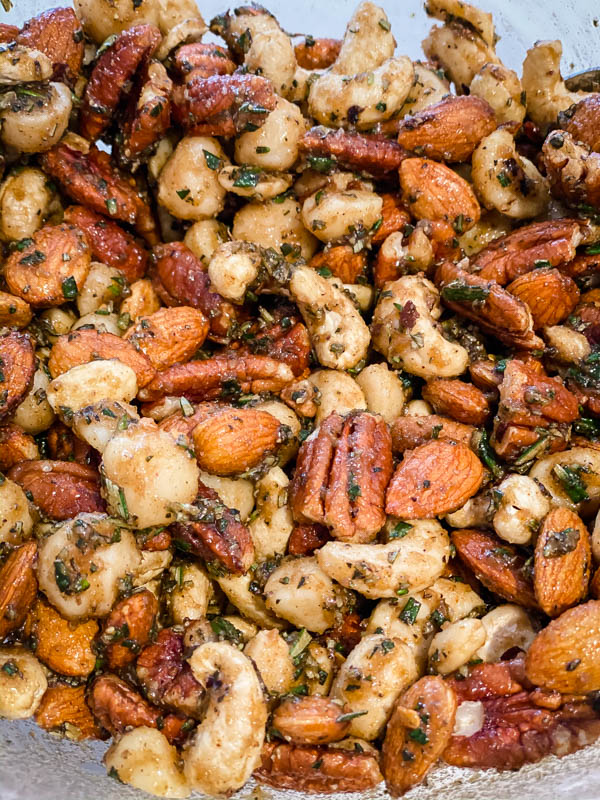 Close up of the Sweet and Spicy Nuts coated in the mixture and ready for the oven.