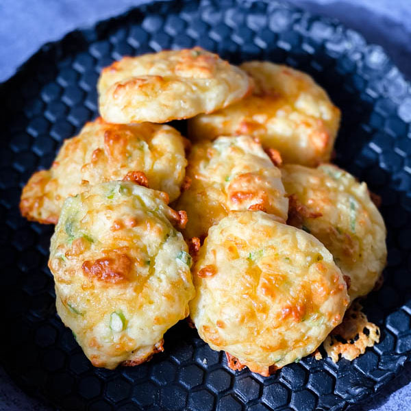 Close up of the plate of Cheese Puffs.