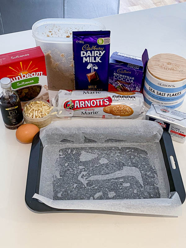All the ingredients to make the Classic Hedgehog Slice on a bench.