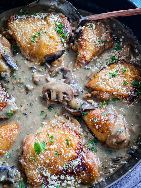 Looking down into the pan of Chicken, Mushroom and Bacon Bake.