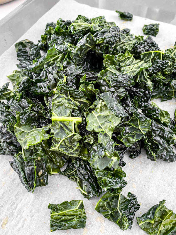 Chopped kale in 2-3cm bite-sized pieces.
