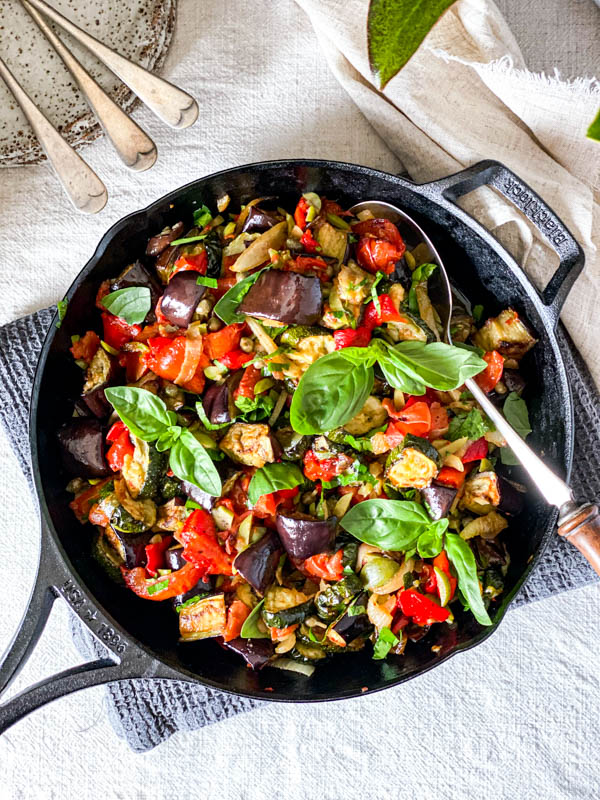Looking down onto the Roasted Ratatouille Salad.