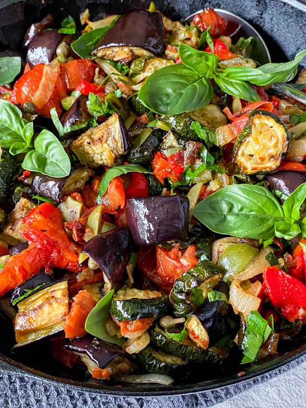 A close up of the Roasted Ratatouille Salad.