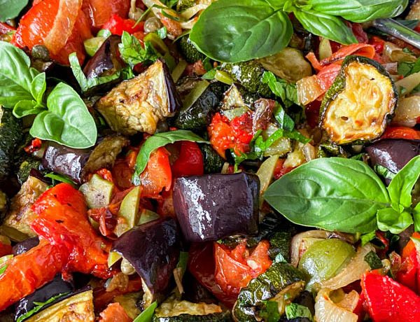 A close up of the vegetables in the Roasted Ratatouille Salad.