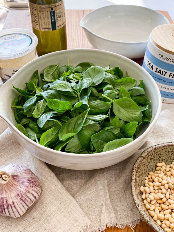 All the ingredients required to make the Basil Pesto are on a chopping board. In the centre is a large bowl of picked basil leaves with salt, parmesan, olive oil, pine-nuts and garlic around it.