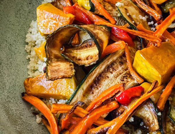 A close up of the undressed Grilled Vegetable and Couscous Salad.