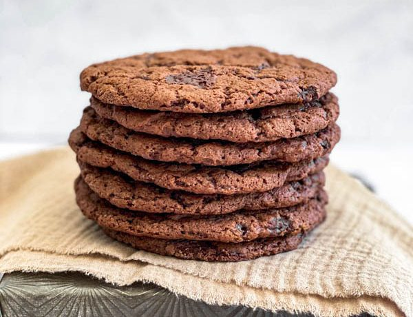 A close up of the stack of Chewy Vegan Chocolate Cookies.