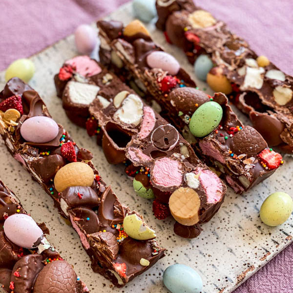 Close up of the slices of Rocky Road on a platter.
