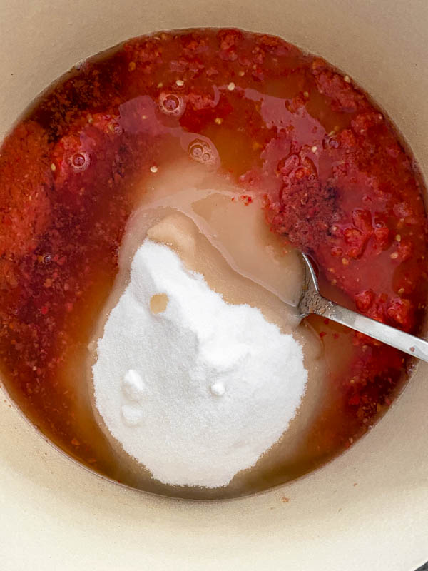 Looking down into the pot of blended ingredients with the sugar and vinegar now added.