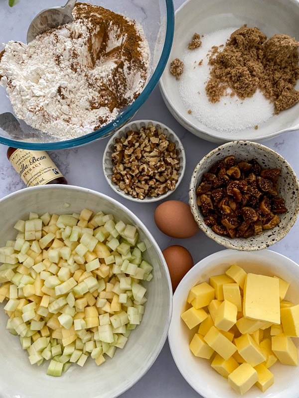 Looking down onto a bench with all the ingredients required to make this recipe.