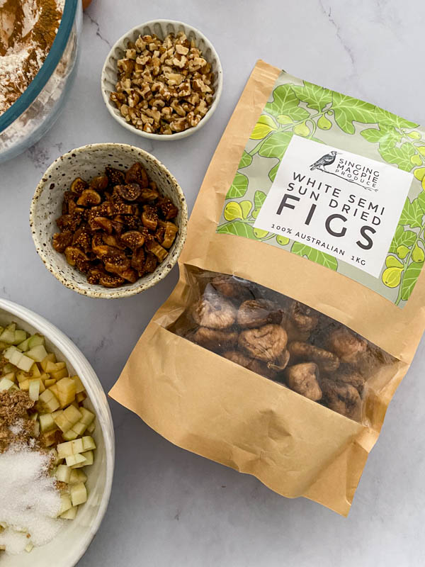 A close up showing the semi-dried figs used in the recipe.