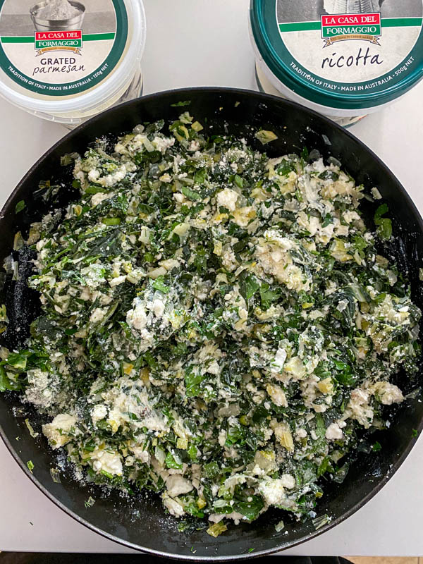 The silverbeet and cheese mix is now ready for the eggs to be added and it is then ready to be put into the pastry.