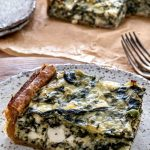 Close up of a slice of the Greens, Ricotta and Feta Pie.